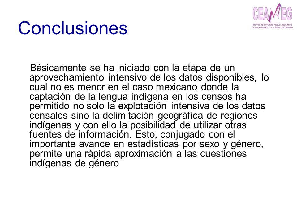 Conclusiones Básicamente se ha iniciado con la etapa de un aprovechamiento intensivo de los datos disponibles, lo cual no es menor en el caso mexicano