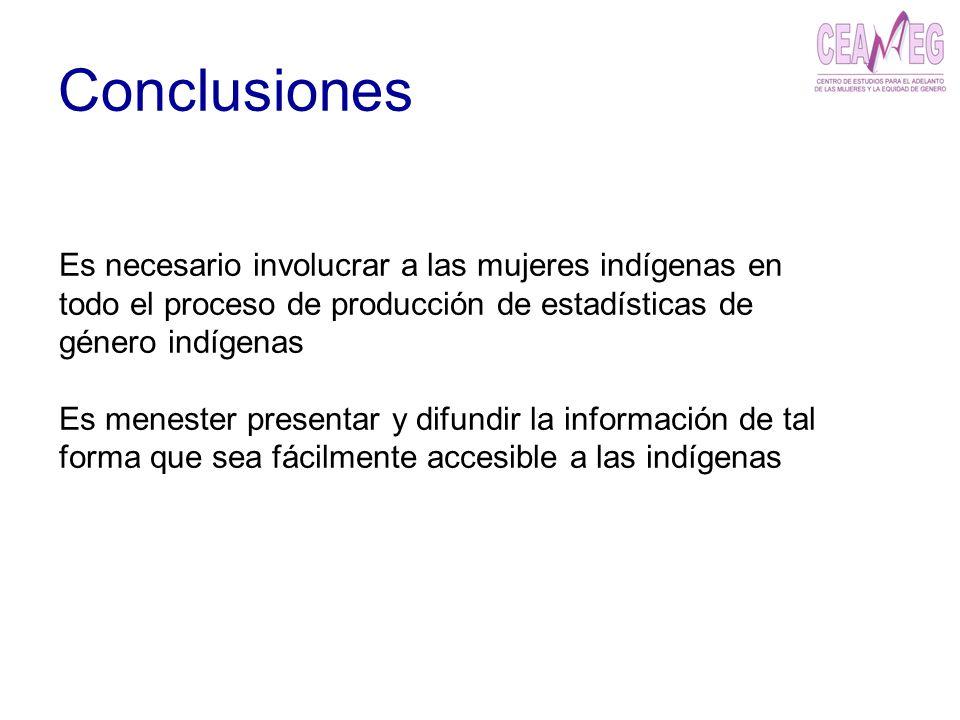 Conclusiones Es necesario involucrar a las mujeres indígenas en todo el proceso de producción de estadísticas de género indígenas Es menester presenta