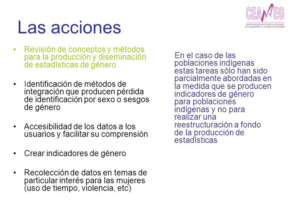 Las acciones Revisión de conceptos y métodos para la producción y diseminación de estadísticas de género Identificación de métodos de integración que