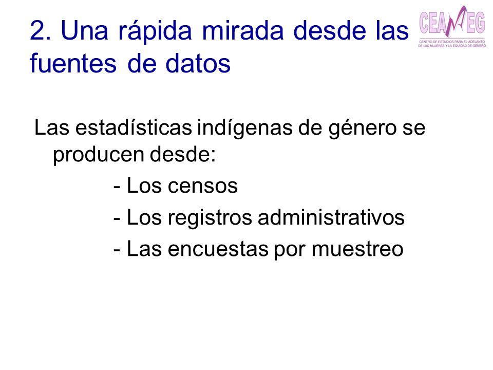 2. Una rápida mirada desde las fuentes de datos Las estadísticas indígenas de género se producen desde: - Los censos - Los registros administrativos -