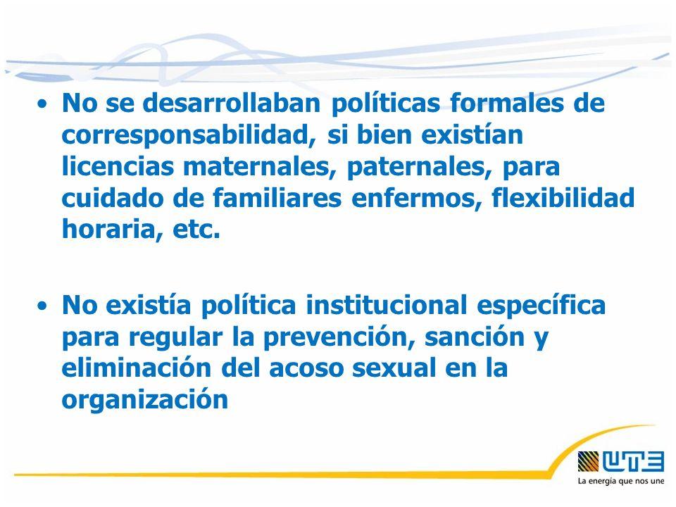No se desarrollaban políticas formales de corresponsabilidad, si bien existían licencias maternales, paternales, para cuidado de familiares enfermos, flexibilidad horaria, etc.