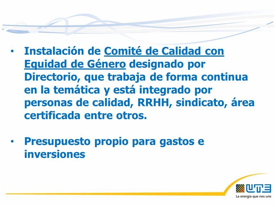 Instalación de Comité de Calidad con Equidad de Género designado por Directorio, que trabaja de forma continua en la temática y está integrado por personas de calidad, RRHH, sindicato, área certificada entre otros.
