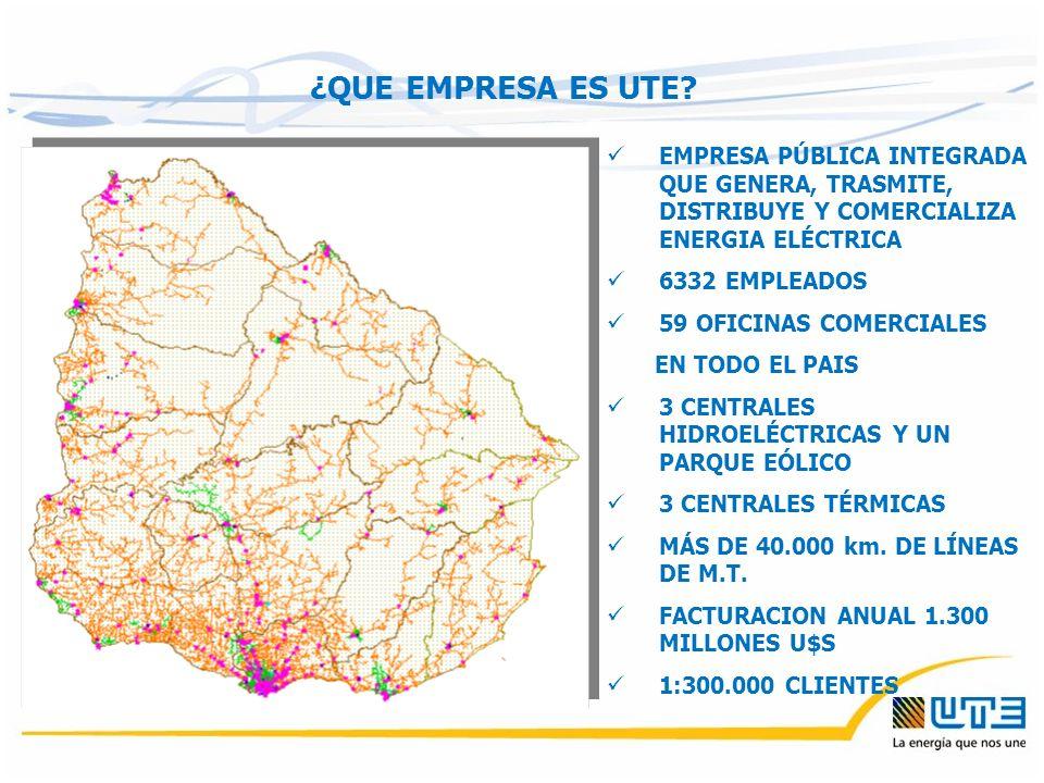 EMPRESA PÚBLICA INTEGRADA QUE GENERA, TRASMITE, DISTRIBUYE Y COMERCIALIZA ENERGIA ELÉCTRICA 6332 EMPLEADOS 59 OFICINAS COMERCIALES EN TODO EL PAIS 3 CENTRALES HIDROELÉCTRICAS Y UN PARQUE EÓLICO 3 CENTRALES TÉRMICAS MÁS DE 40.000 km.