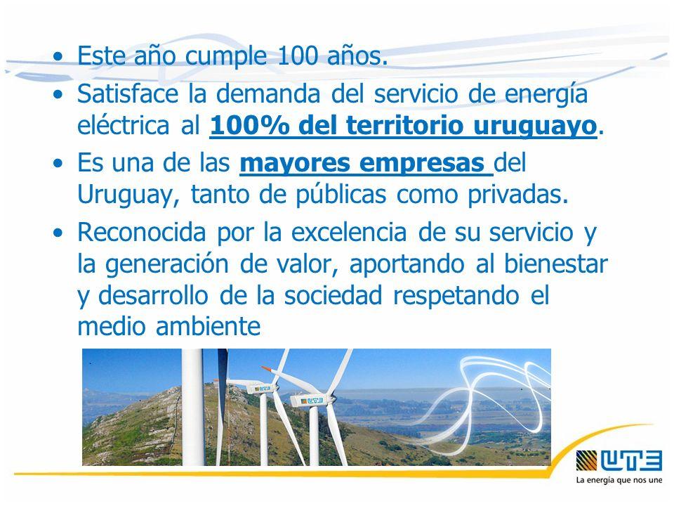 Este año cumple 100 años. Satisface la demanda del servicio de energía eléctrica al 100% del territorio uruguayo. Es una de las mayores empresas del U