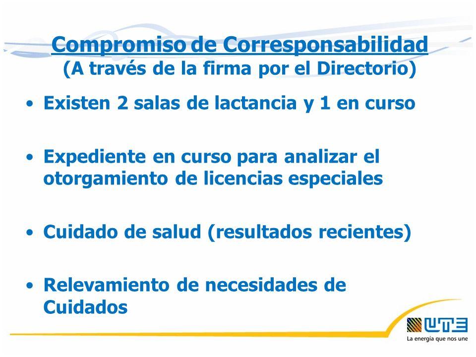 Existen 2 salas de lactancia y 1 en curso Expediente en curso para analizar el otorgamiento de licencias especiales Cuidado de salud (resultados recientes) Relevamiento de necesidades de Cuidados Compromiso de Corresponsabilidad (A través de la firma por el Directorio)