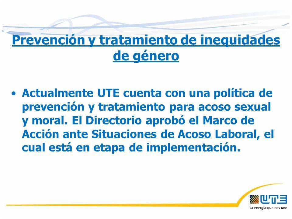 Prevención y tratamiento de inequidades de género Actualmente UTE cuenta con una política de prevención y tratamiento para acoso sexual y moral.