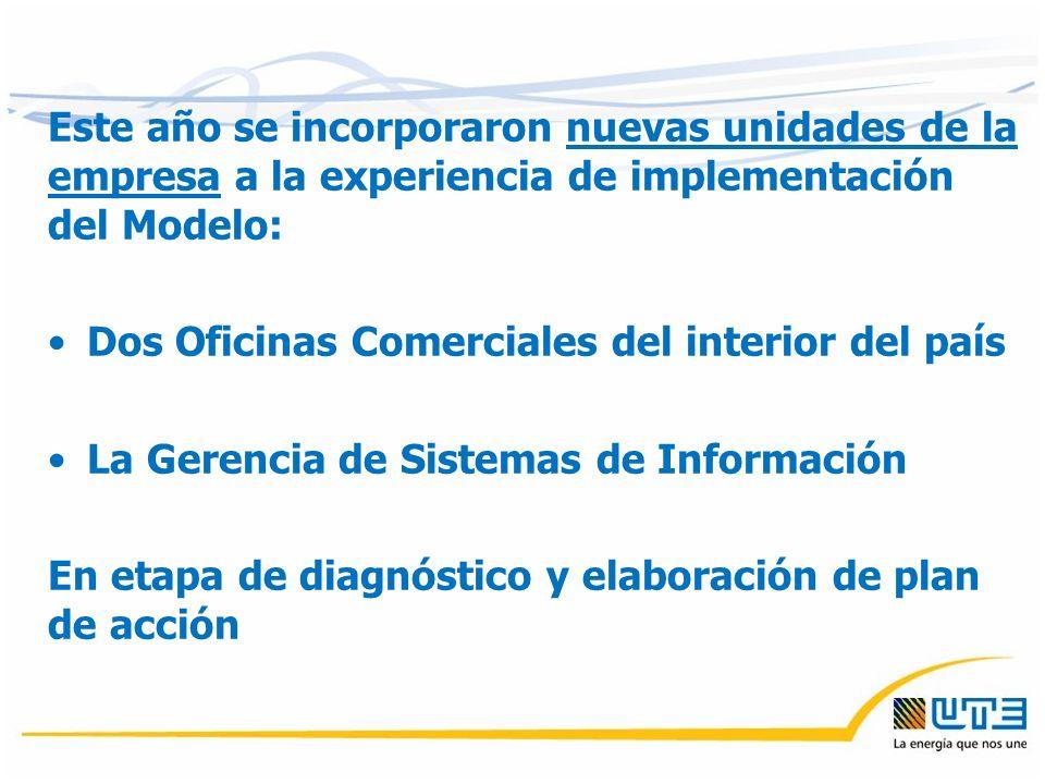 Este año se incorporaron nuevas unidades de la empresa a la experiencia de implementación del Modelo: Dos Oficinas Comerciales del interior del país La Gerencia de Sistemas de Información En etapa de diagnóstico y elaboración de plan de acción
