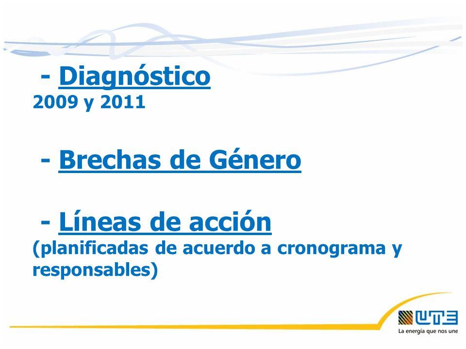 - Diagnóstico 2009 y 2011 - Brechas de Género - Líneas de acción (planificadas de acuerdo a cronograma y responsables)