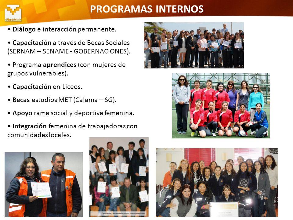 10 PROGRAMAS INTERNOS Diálogo e interacción permanente. Capacitación a través de Becas Sociales (SERNAM – SENAME - GOBERNACIONES). Programa aprendices