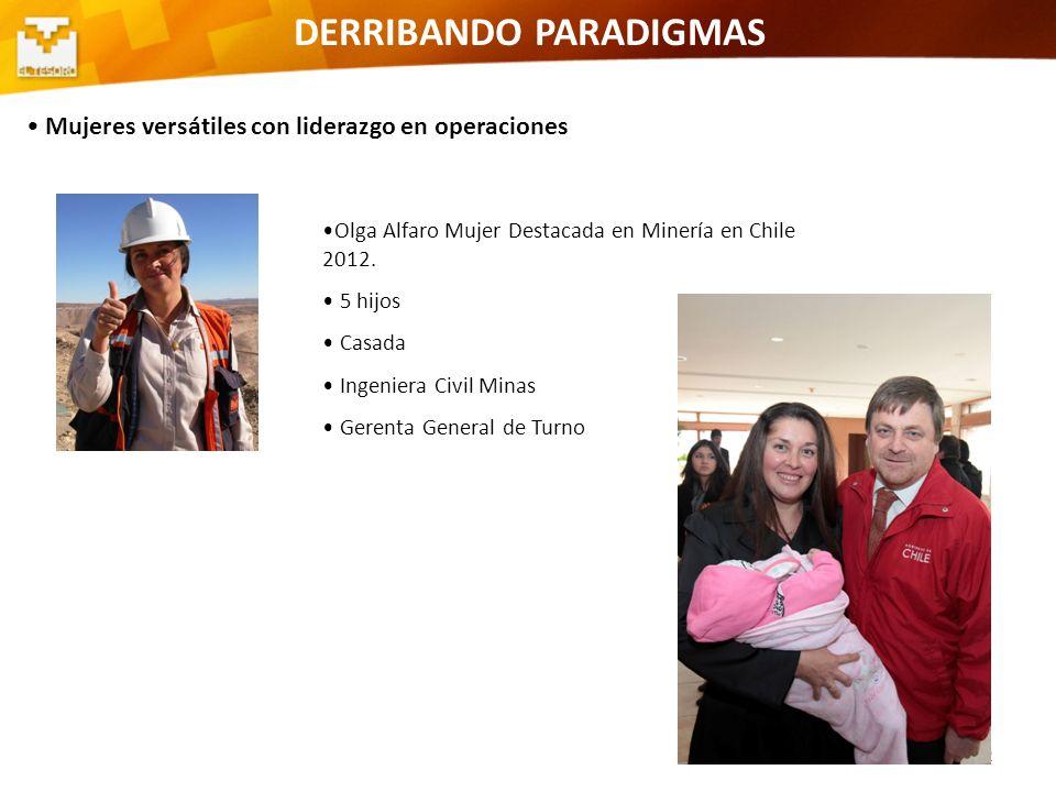 12 DERRIBANDO PARADIGMAS Mujeres versátiles con liderazgo en operaciones Control mina Olga Alfaro Mujer Destacada en Minería en Chile 2012. 5 hijos Ca