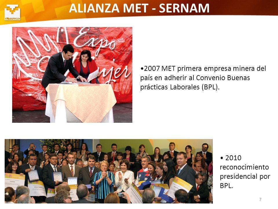 7 ALIANZA MET - SERNAM 2007 MET primera empresa minera del país en adherir al Convenio Buenas prácticas Laborales (BPL). 2010 reconocimiento presidenc