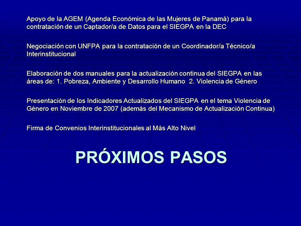 PRÓXIMOS PASOS Apoyo de la AGEM (Agenda Económica de las Mujeres de Panamá) para la contratación de un Captador/a de Datos para el SIEGPA en la DEC Negociación con UNFPA para la contratación de un Coordinador/a Técnico/a Interinstitucional Elaboración de dos manuales para la actualización continua del SIEGPA en las áreas de: 1.