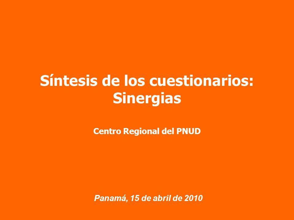 Panamá, 15 de abril de 2010 Síntesis de los cuestionarios: Sinergias Centro Regional del PNUD