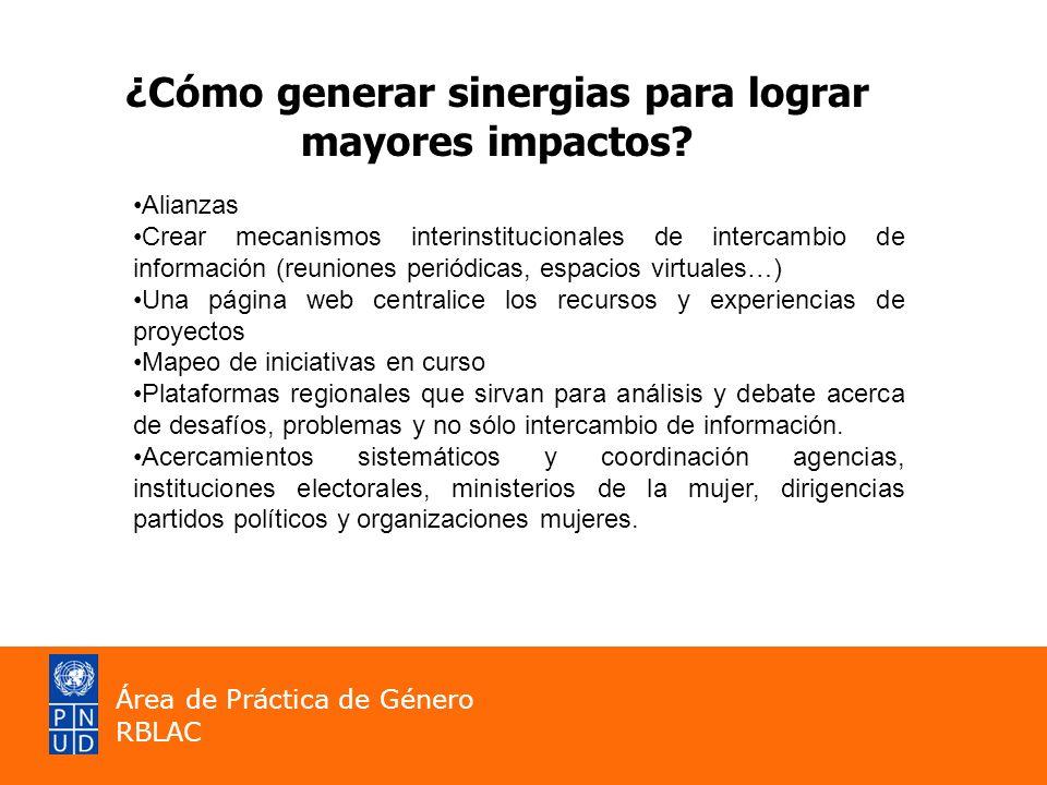 ¿Cómo generar sinergias para lograr mayores impactos? Alianzas Crear mecanismos interinstitucionales de intercambio de información (reuniones periódic