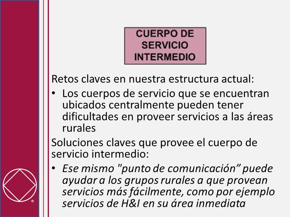 Retos claves en nuestra estructura actual: Los cuerpos de servicio que se encuentran ubicados centralmente pueden tener dificultades en proveer servic