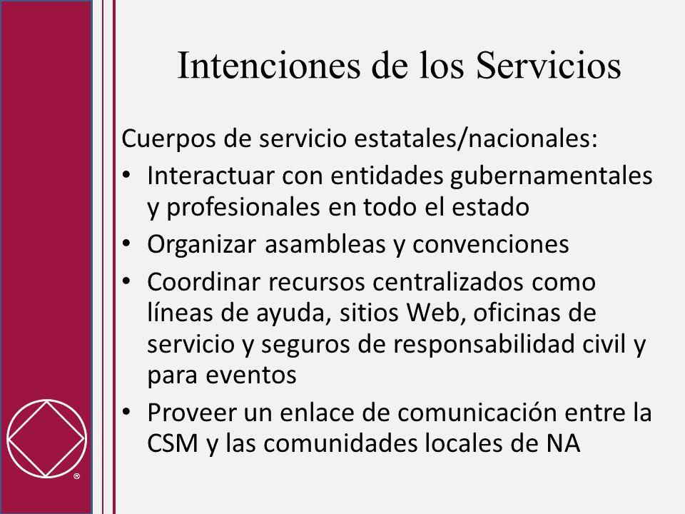 Intenciones de los Servicios Cuerpos de servicio estatales/nacionales: Interactuar con entidades gubernamentales y profesionales en todo el estado Org