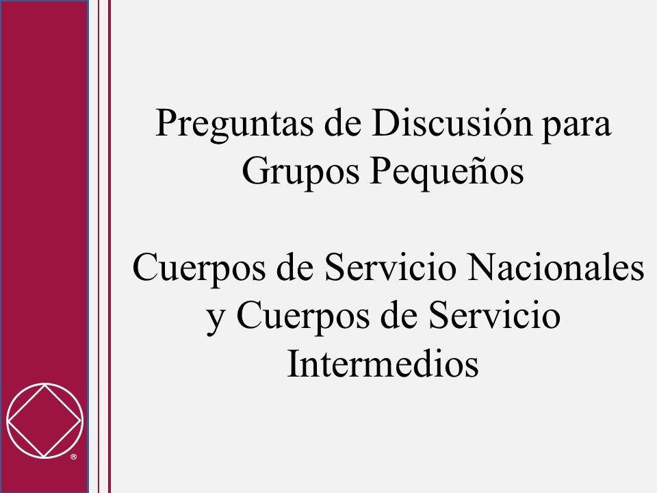 Preguntas de Discusión para Grupos Pequeños Cuerpos de Servicio Nacionales y Cuerpos de Servicio Intermedios