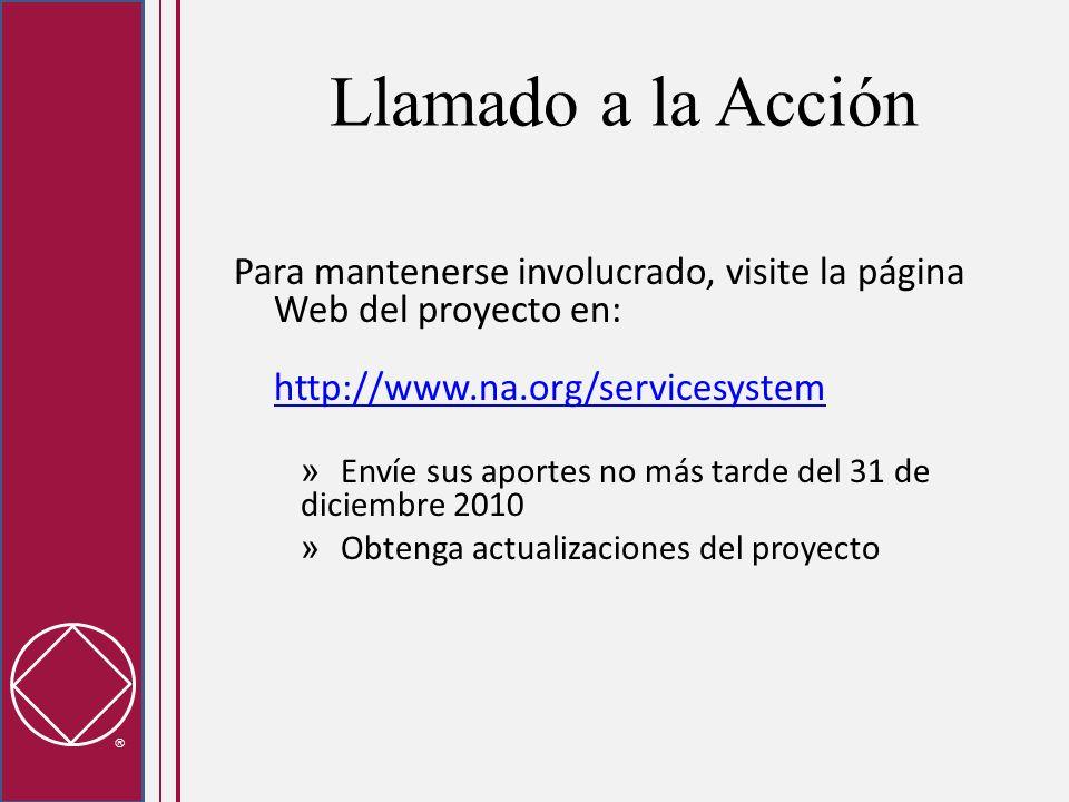 Llamado a la Acción Para mantenerse involucrado, visite la página Web del proyecto en: http://www.na.org/servicesystem http://www.na.org/servicesystem » Envíe sus aportes no más tarde del 31 de diciembre 2010 » Obtenga actualizaciones del proyecto