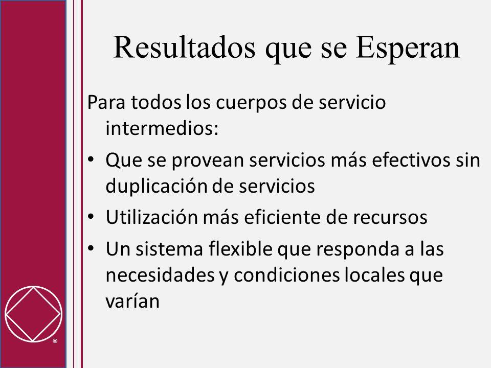 Resultados que se Esperan Para todos los cuerpos de servicio intermedios: Que se provean servicios más efectivos sin duplicación de servicios Utilizac