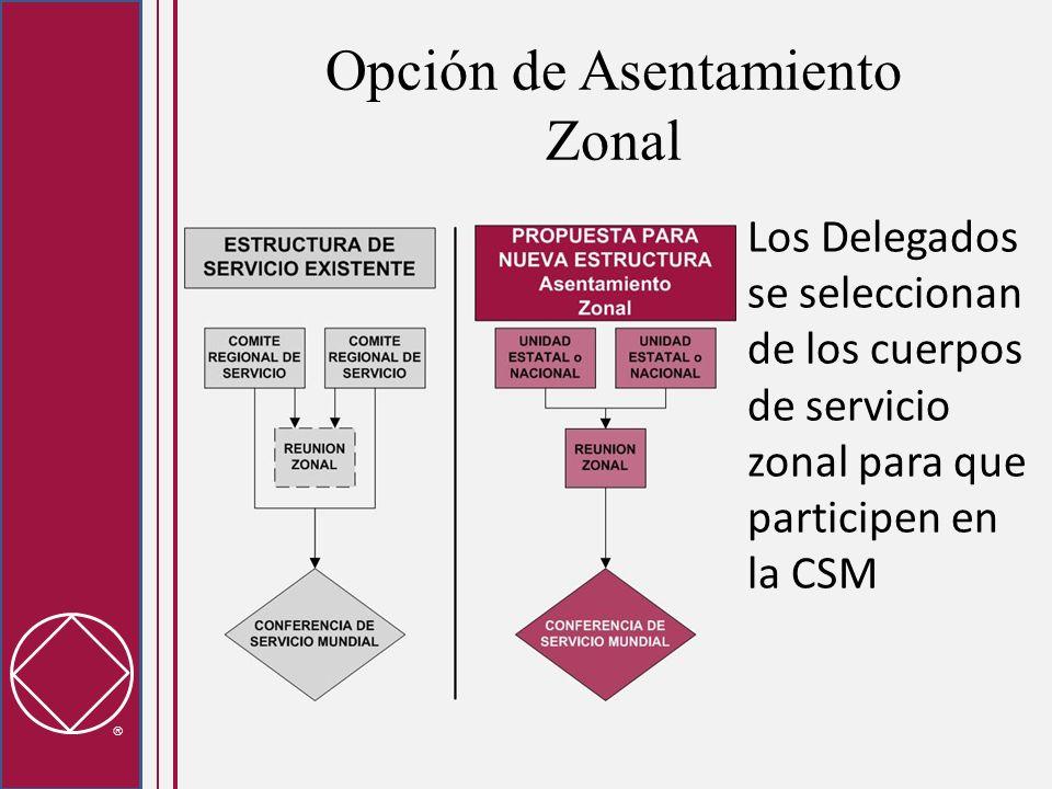 Opción de Asentamiento Zonal Los Delegados se seleccionan de los cuerpos de servicio zonal para que participen en la CSM