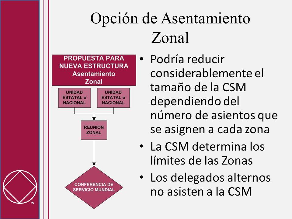 Opción de Asentamiento Zonal Podría reducir considerablemente el tamaño de la CSM dependiendo del número de asientos que se asignen a cada zona La CSM determina los límites de las Zonas Los delegados alternos no asisten a la CSM