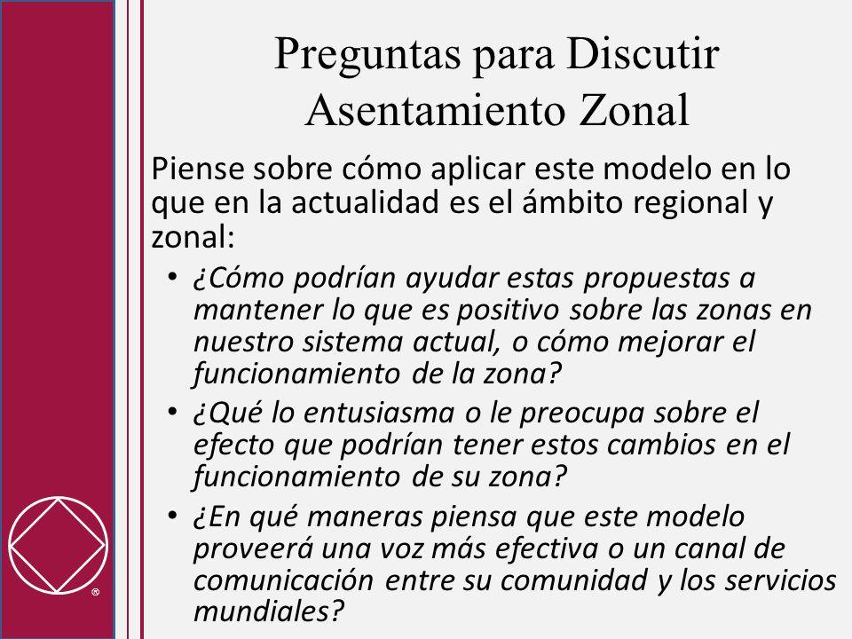 Preguntas para Discutir Asentamiento Zonal Piense sobre cómo aplicar este modelo en lo que en la actualidad es el ámbito regional y zonal: ¿Cómo podrían ayudar estas propuestas a mantener lo que es positivo sobre las zonas en nuestro sistema actual, o cómo mejorar el funcionamiento de la zona.