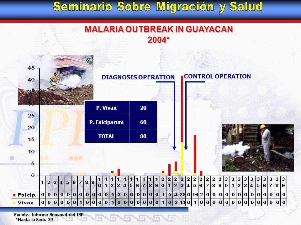 MALARIA OUTBREAK IN GUAYACAN 2004* Fuente: Informe Semanal del ISP *Hasta la Sem. 39 *Hasta la Sem. 39 P. Vivax20 P. Falciparum60 TOTAL80 CONTROL OPER