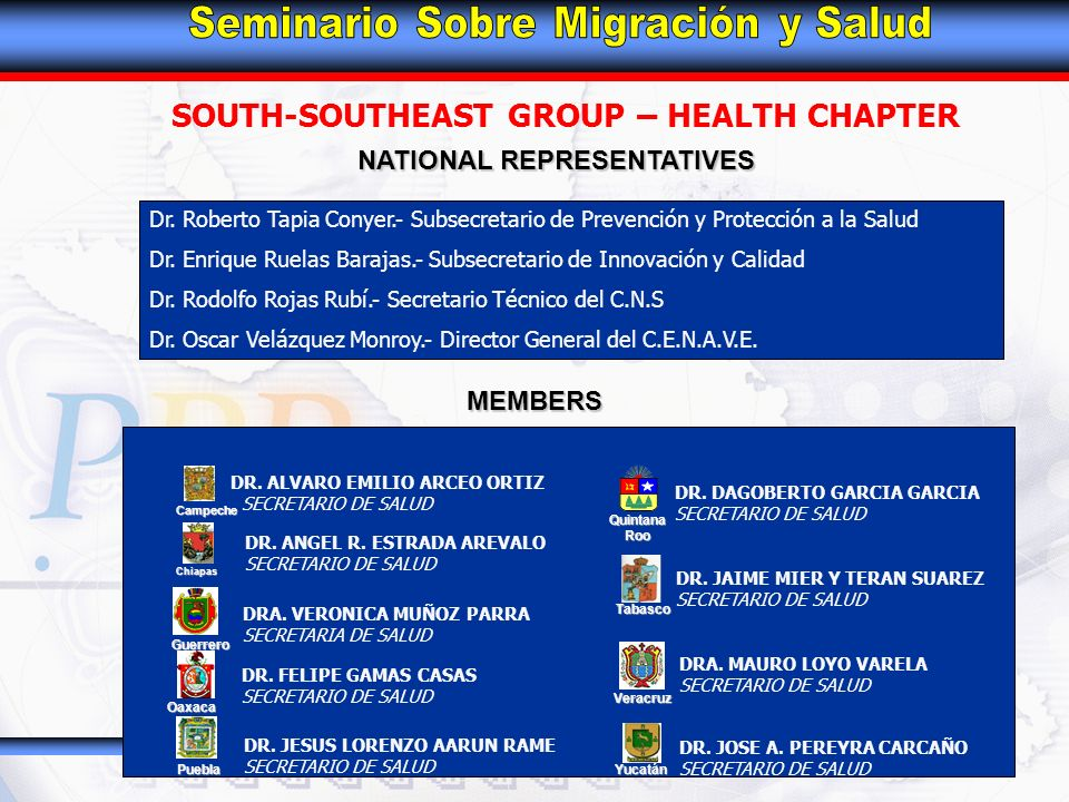 SOUTH-SOUTHEAST GROUP – HEALTH CHAPTER MEMBERS Oaxaca Chiapas Puebla Campeche Guerrero Tabasco Quintana Roo Veracruz Yucatán DR.