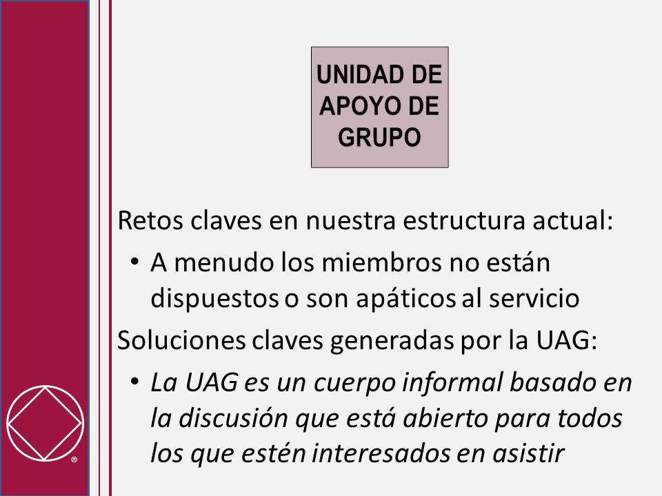 Retos claves en nuestra estructura actual: A menudo los miembros no están dispuestos o son apáticos al servicio Soluciones claves generadas por la UAG: La UAG es un cuerpo informal basado en la discusión que está abierto para todos los que estén interesados en asistir