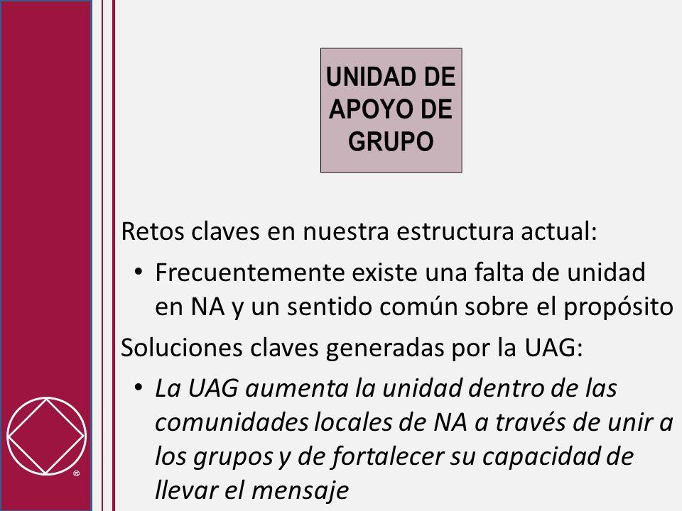 Retos claves en nuestra estructura actual: Frecuentemente existe una falta de unidad en NA y un sentido común sobre el propósito Soluciones claves generadas por la UAG: La UAG aumenta la unidad dentro de las comunidades locales de NA a través de unir a los grupos y de fortalecer su capacidad de llevar el mensaje