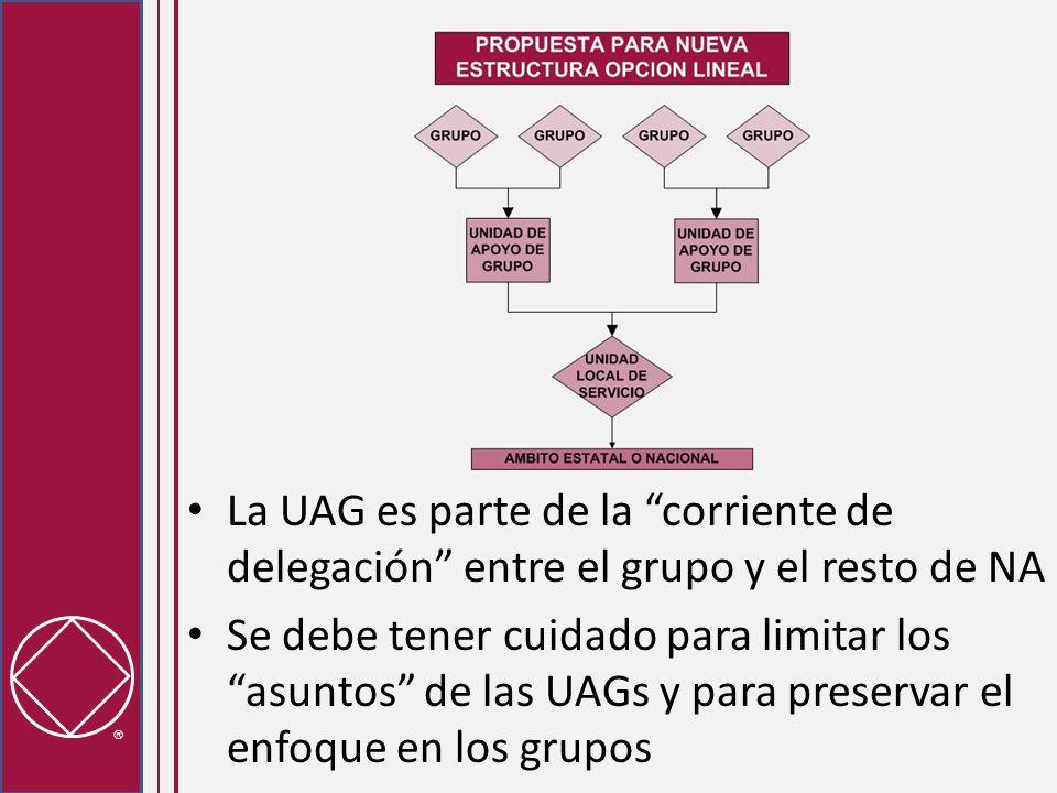 La UAG está por fuera del canal de delegación Preserva la simplicidad de la reunión de la UAG Requiere que los grupos seleccionen a un delegado para la USL Las reuniones de la UAG/USL se pueden realizar en meses alternos