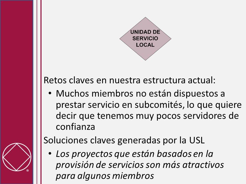 Retos claves en nuestra estructura actual: El ambiente de algunas reuniones de servicio es negativo Soluciones claves generadas por la USL: Cuando es posible, se utiliza la toma de decisiones por consenso en lugar de las mociones