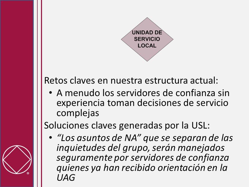 Conectar a los Grupos y al Sistema de Servicio - Retos Potenciales La opción lineal puede crear la impresión de que exista un distanciamiento entre los grupos y los procesos de toma de decisiones de la USL, porque la UAG se encuentra entre ellos.