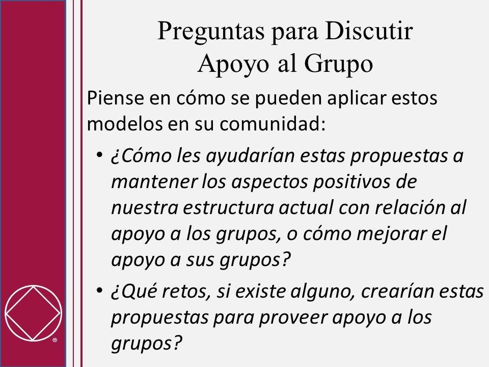 Preguntas para Discutir Apoyo al Grupo Piense en cómo se pueden aplicar estos modelos en su comunidad: ¿Cómo les ayudarían estas propuestas a mantener los aspectos positivos de nuestra estructura actual con relación al apoyo a los grupos, o cómo mejorar el apoyo a sus grupos.