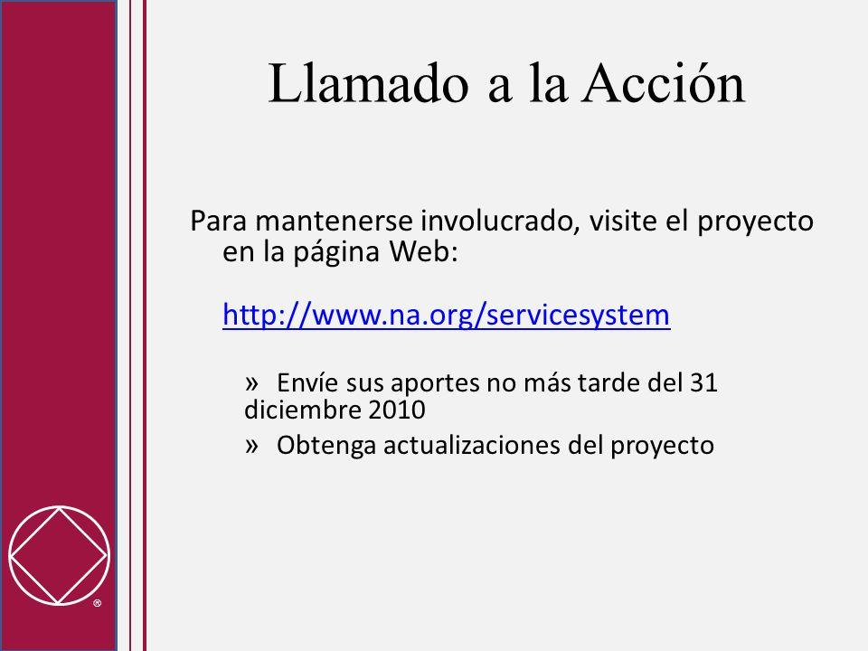 Llamado a la Acción Para mantenerse involucrado, visite el proyecto en la página Web: http://www.na.org/servicesystem http://www.na.org/servicesystem » Envíe sus aportes no más tarde del 31 diciembre 2010 » Obtenga actualizaciones del proyecto