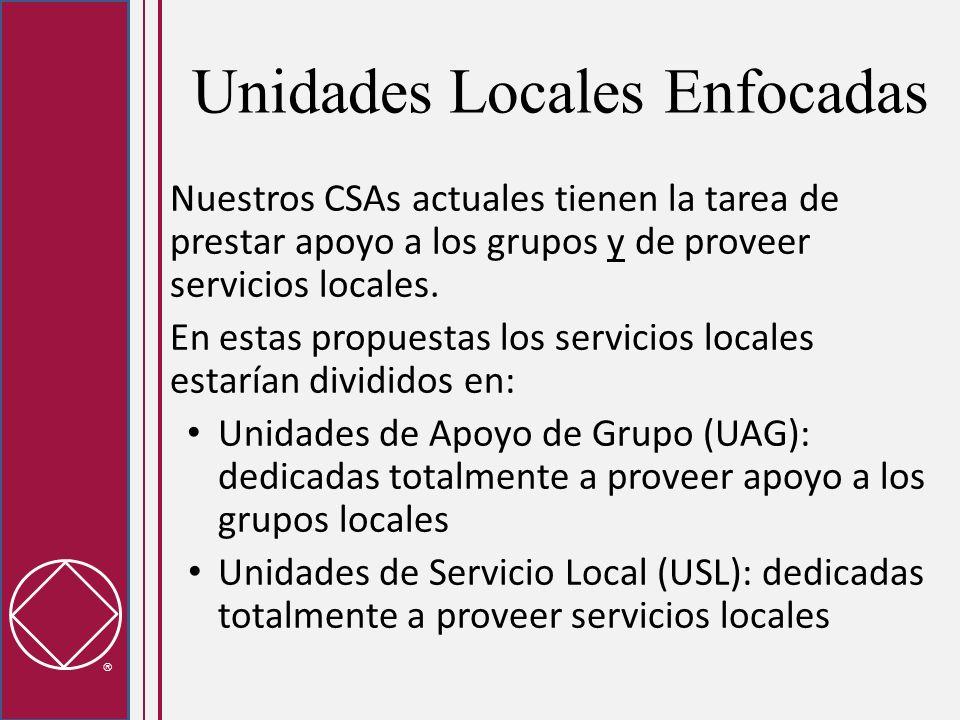 Unidades Locales Enfocadas Nuestros CSAs actuales tienen la tarea de prestar apoyo a los grupos y de proveer servicios locales. En estas propuestas lo