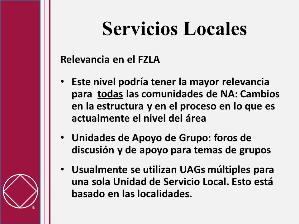 Servicios Locales Relevancia en el FZLA Este nivel podría tener la mayor relevancia para todas las comunidades de NA: Cambios en la estructura y en el proceso en lo que es actualmente el nivel del área Unidades de Apoyo de Grupo: foros de discusión y de apoyo para temas de grupos Usualmente se utilizan UAGs múltiples para una sola Unidad de Servicio Local.