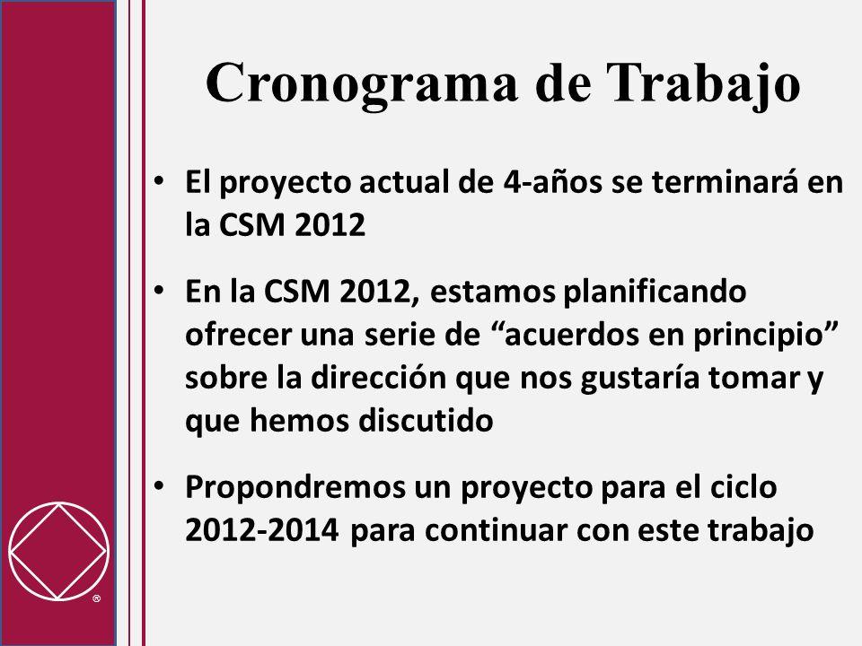 Cronograma de Trabajo El proyecto actual de 4-años se terminará en la CSM 2012 En la CSM 2012, estamos planificando ofrecer una serie de acuerdos en principio sobre la dirección que nos gustaría tomar y que hemos discutido Propondremos un proyecto para el ciclo 2012-2014 para continuar con este trabajo
