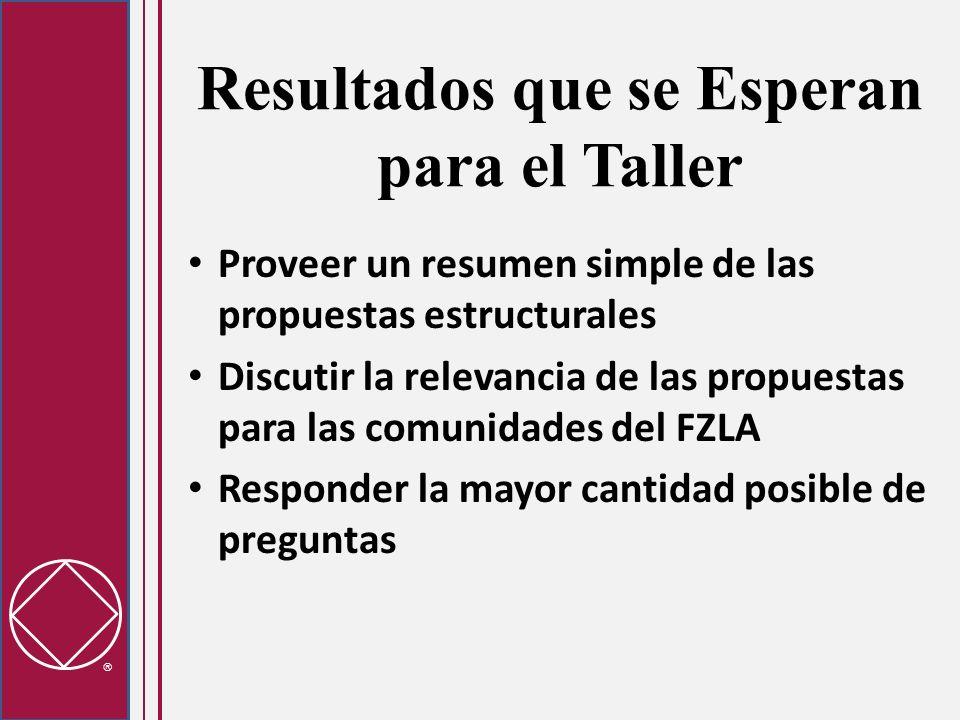 Resultados que se Esperan para el Taller Proveer un resumen simple de las propuestas estructurales Discutir la relevancia de las propuestas para las comunidades del FZLA Responder la mayor cantidad posible de preguntas