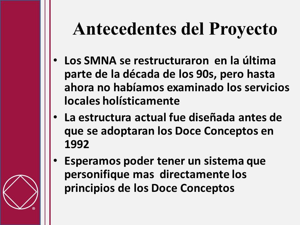 Antecedentes del Proyecto Los SMNA se restructuraron en la última parte de la década de los 90s, pero hasta ahora no habíamos examinado los servicios locales holísticamente La estructura actual fue diseñada antes de que se adoptaran los Doce Conceptos en 1992 Esperamos poder tener un sistema que personifique mas directamente los principios de los Doce Conceptos