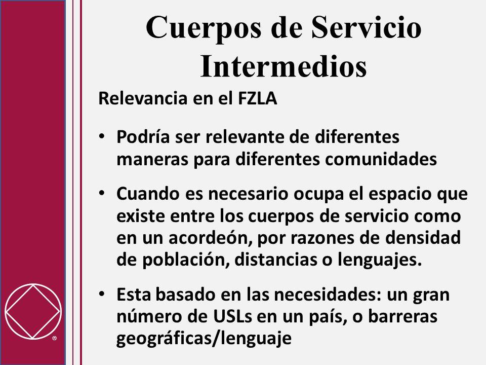 Cuerpos de Servicio Intermedios Relevancia en el FZLA Podría ser relevante de diferentes maneras para diferentes comunidades Cuando es necesario ocupa el espacio que existe entre los cuerpos de servicio como en un acordeón, por razones de densidad de población, distancias o lenguajes.