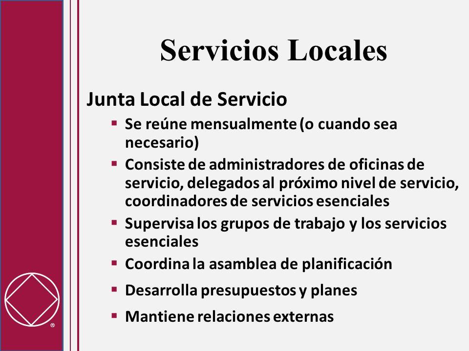 Servicios Locales Junta Local de Servicio Se reúne mensualmente (o cuando sea necesario) Consiste de administradores de oficinas de servicio, delegado
