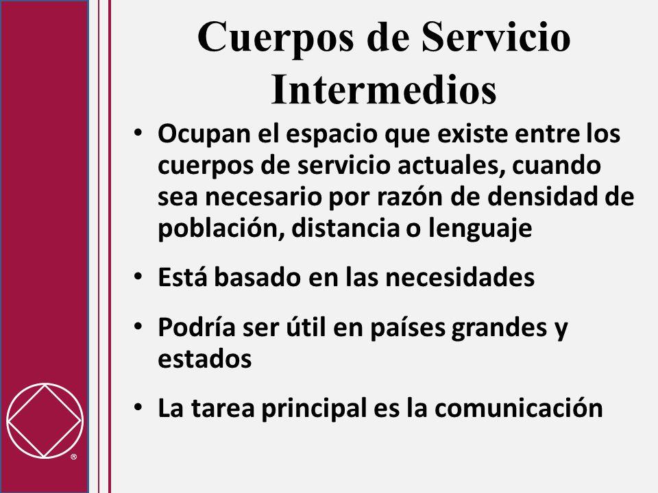 Cuerpos de Servicio Intermedios Ocupan el espacio que existe entre los cuerpos de servicio actuales, cuando sea necesario por razón de densidad de pob