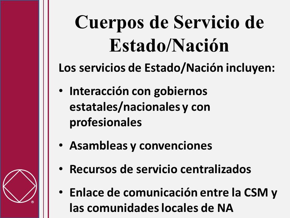 Cuerpos de Servicio de Estado/Nación Los servicios de Estado/Nación incluyen: Interacción con gobiernos estatales/nacionales y con profesionales Asamb