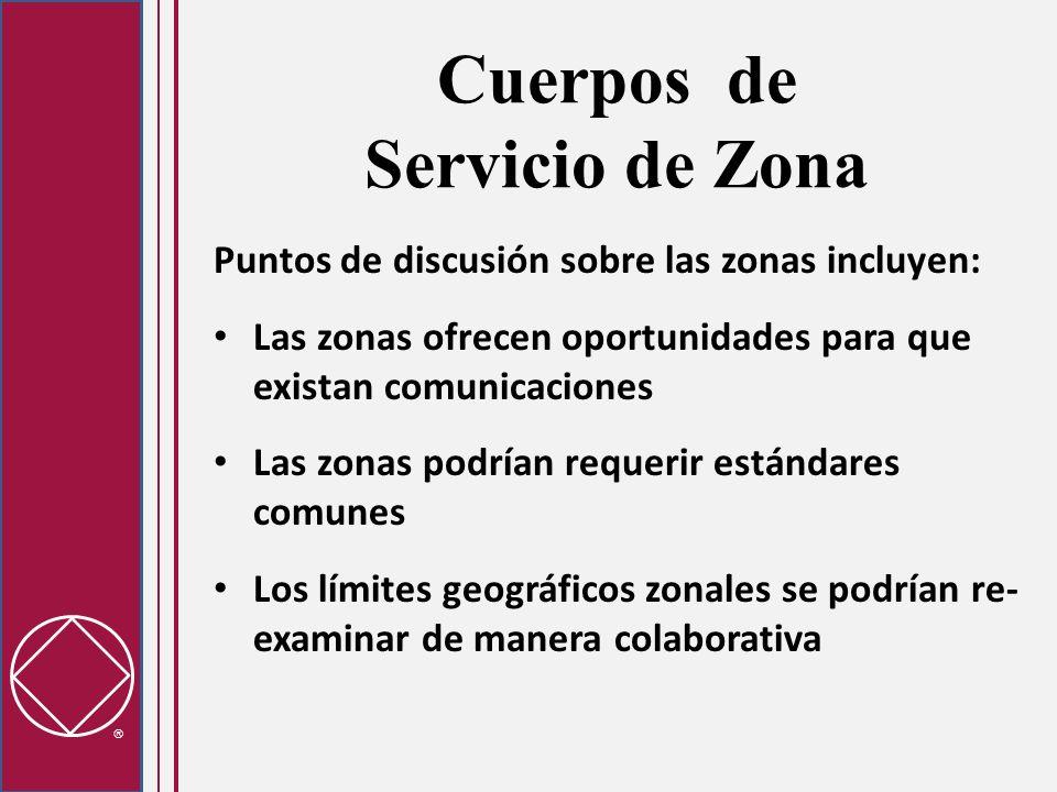 Cuerpos de Servicio de Zona Puntos de discusión sobre las zonas incluyen: Las zonas ofrecen oportunidades para que existan comunicaciones Las zonas po