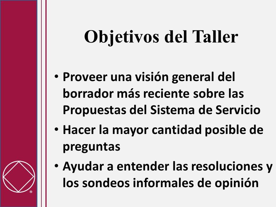 Objetivos del Taller Proveer una visión general del borrador más reciente sobre las Propuestas del Sistema de Servicio Hacer la mayor cantidad posible