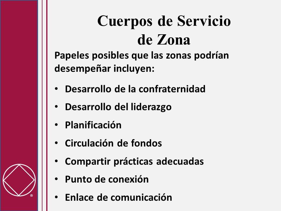 Cuerpos de Servicio de Zona Papeles posibles que las zonas podrían desempeñar incluyen: Desarrollo de la confraternidad Desarrollo del liderazgo Plani