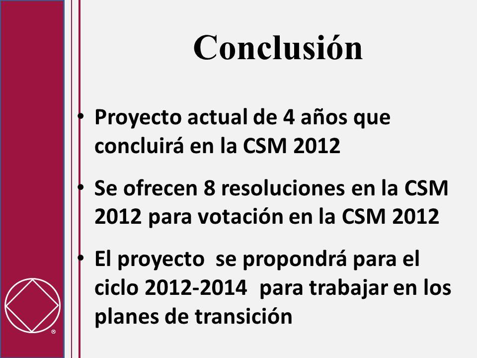 Conclusión Proyecto actual de 4 años que concluirá en la CSM 2012 Se ofrecen 8 resoluciones en la CSM 2012 para votación en la CSM 2012 El proyecto se