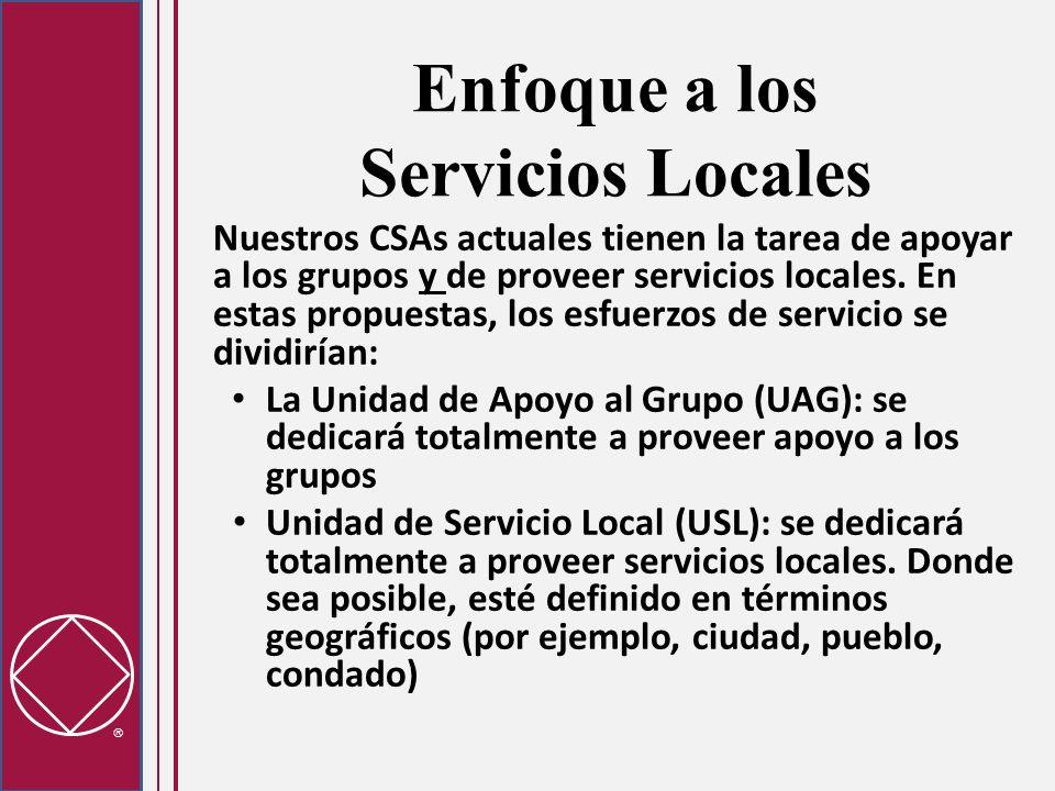 Apoyo al Grupo Cambios a la estructura y al proceso para apoyar a los grupos: Unidades de Apoyo al Grupo: discusión y foros de apoyo para temas de los grupos Usualmente habrán varias UAGs para una sola Unidad de Servicio Local Las UAGs están basadas en los vecindarios