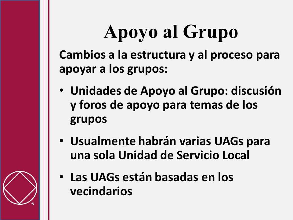 Apoyo al Grupo Cambios a la estructura y al proceso para apoyar a los grupos: Unidades de Apoyo al Grupo: discusión y foros de apoyo para temas de los